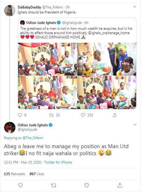 Fan kêu gọi Ighalo làm tổng thống Nigeria