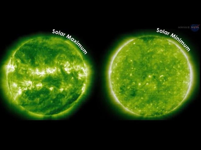 Trong giai đoạn cực tiểu của Mặt Trời, những vết đen xuất hiện ít hơn và ngược lại. Ảnh: NASA.