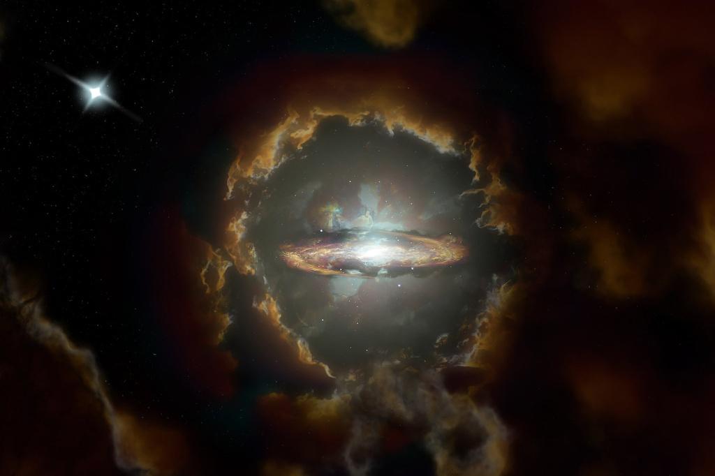 Minh hoạt của một nghệ sĩ về thiên hà đĩa khổng lồ trong vũ trụ sơ khai vừa được tìm thấy. Thiên hà này được phát hiện khi kính viễn vọng ALMA kiểm tra ánh sáng từ một chuẩn tinh ở xa hơn (trên cùng bên trái). Ảnh: New York Times.