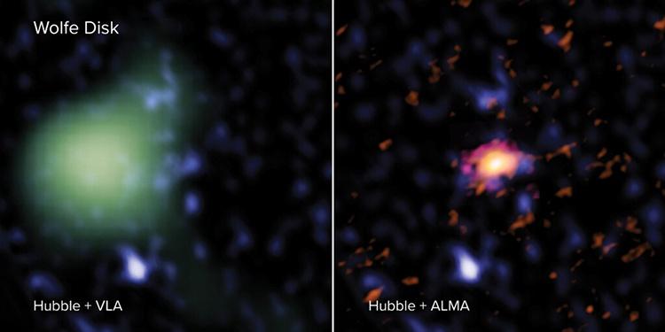 Ảnh chụp thiên hà ALMA J081740.86 + 135138.2 từ ba kính viễn vọng ALMA, Hubble và VLA. Ảnh: Phys.
