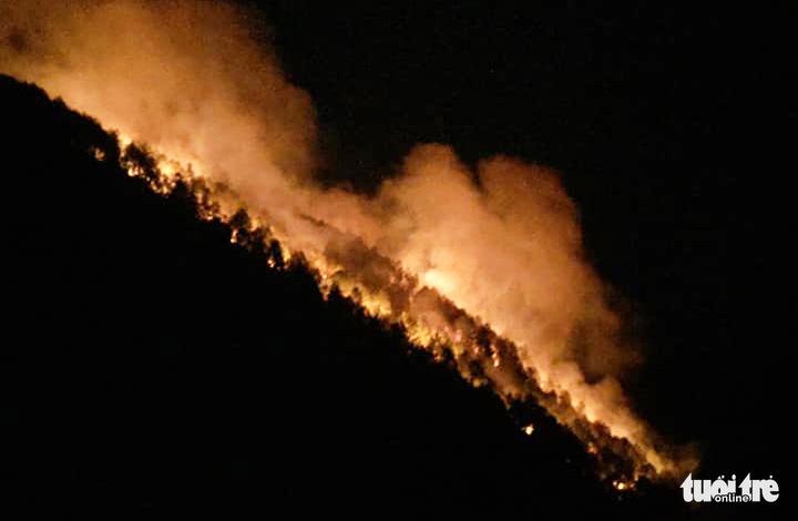 Rừng ở Hà Tĩnh, Nghệ An đang cháy đỏ trời trong đêm - Ảnh 3.