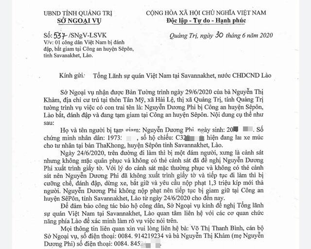 Xác minh thông tin một công dân Quảng Trị bị đánh đập và tạm giam tại Lào - Ảnh 1.