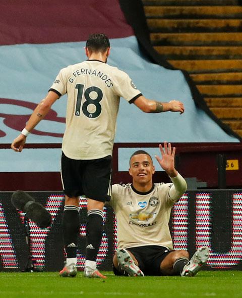 Greenwood ngồi lăn lê ăn mừng phấn khích trước Aston Villa