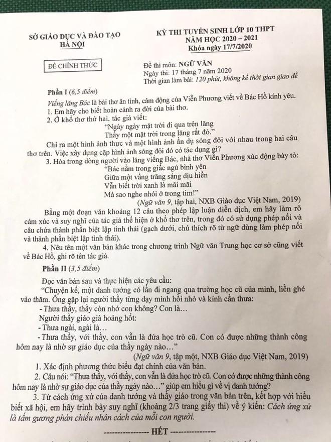 Tuyển sinh lớp 10 tại Hà Nội: Đề thi ngữ văn quen thuộc, 'trúng tủ' - ảnh 1