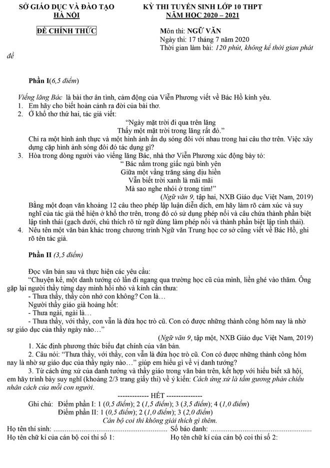 Tuyển sinh lớp 10 Hà Nội: Đã có gợi ý giải đề thi môn văn - ảnh 1